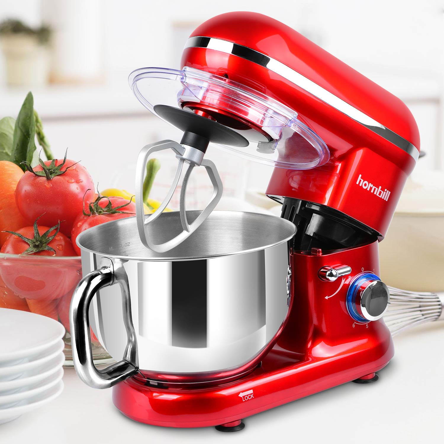 Hornbill Tilt-head Stand Mixer, Electric Mixer 600W 6-Speed 5-Quart Stainless Steel Bowl Professional Kitchen Mixer With Dough Hook, Whisk, Beater(Red) by Hornbill (Image #5)