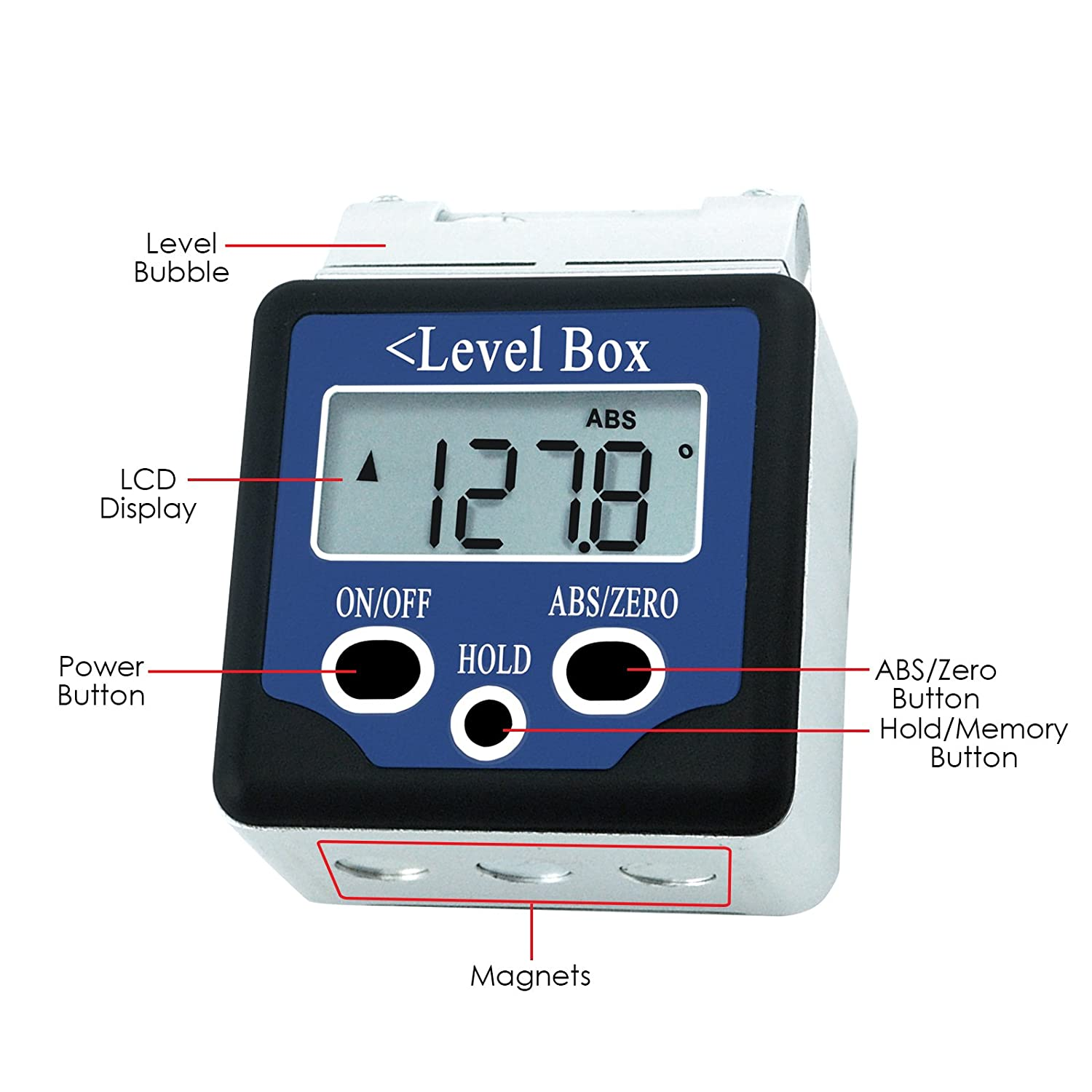 Digital 360/° Spirit Level Angle Gauge Inclinometer w//Magnets Box Type //-180 degree Accuracy 0.1 degree Bevel Box Level Angle Finder Large LCD Display