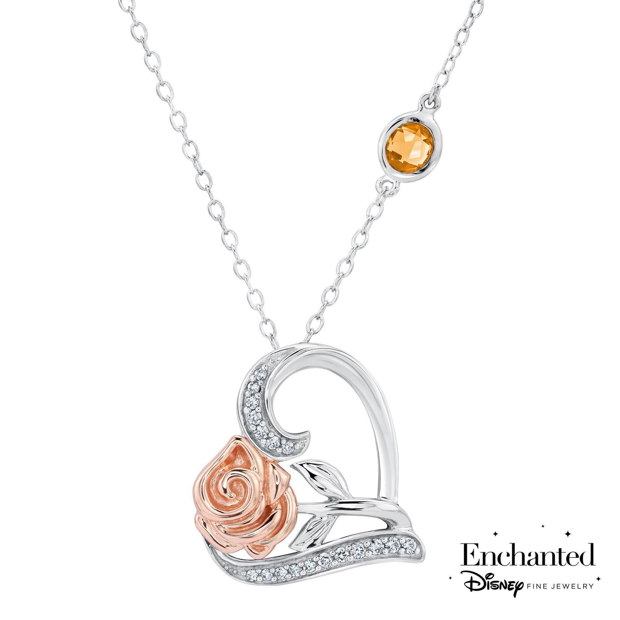 Enchanted Disney Belle's Rose and Heart Diamond Pendant 1/10ctw