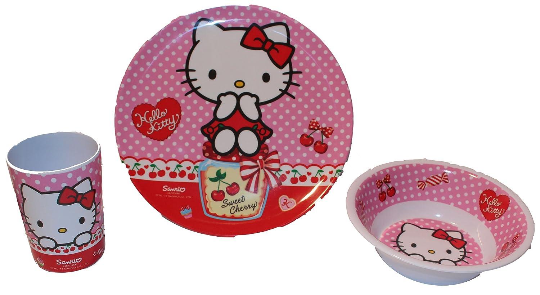 Hello Kitty - Vajilla infantil (plato, cuenco para cereales y vaso, de melamina): Amazon.es: Hogar