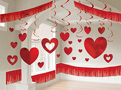 Charming Blushing Valentineu0027s Day Giant Room Party Decorating Kit, Red, Foil, Pack  Of 16
