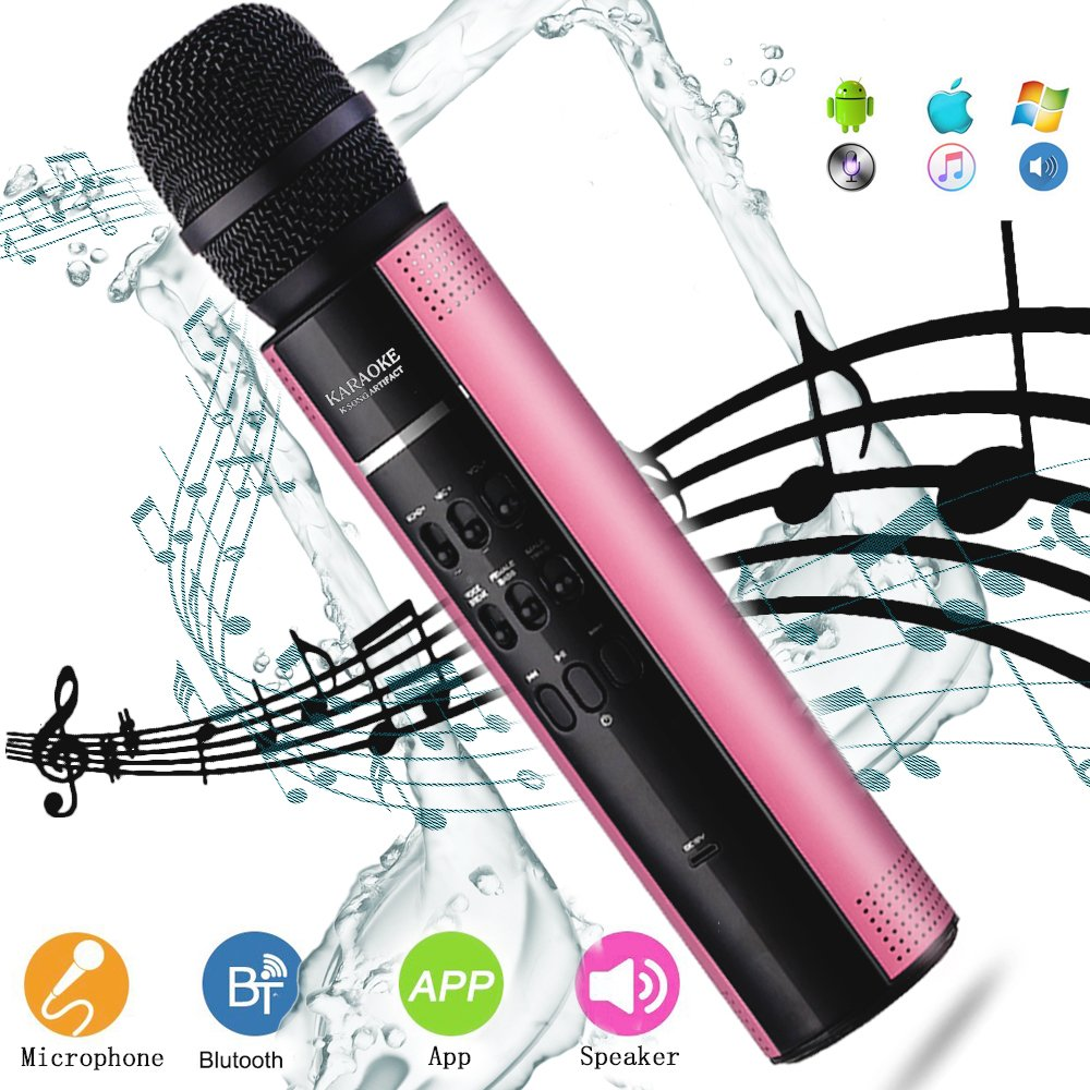 Wireless Karaoke Microphone YingGEE Portable Bluetooth Mic Machine with Speaker Male Female Voice Transformation USB Rechargeable for Home KTV Outdoor Picnic Family Party Music