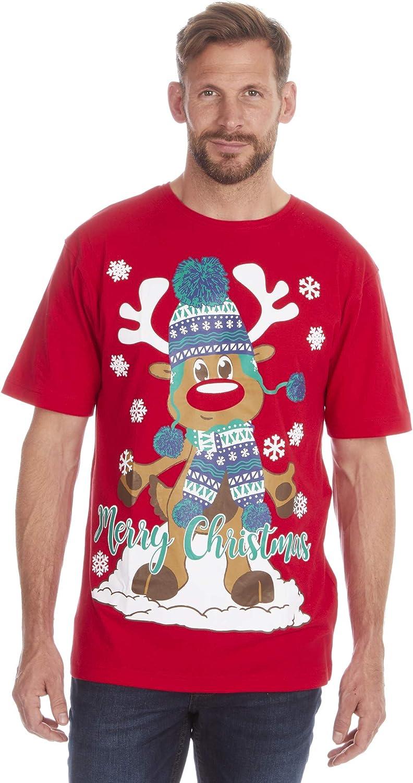 Fruit of the Loom - Camiseta de algodón con estampado navideño