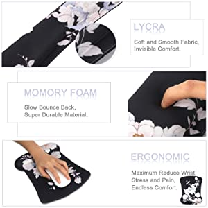 iLeadon Keyboard Wrist Rest Pad and Mouse Wrist Rest Support Mouse Pad Set, Non Slip Rubber Base Wrist Support with Ergonomic Raised Memory Foam for Easy Typing & Pain Relief, Black Lotus (Color: Black Lotus)