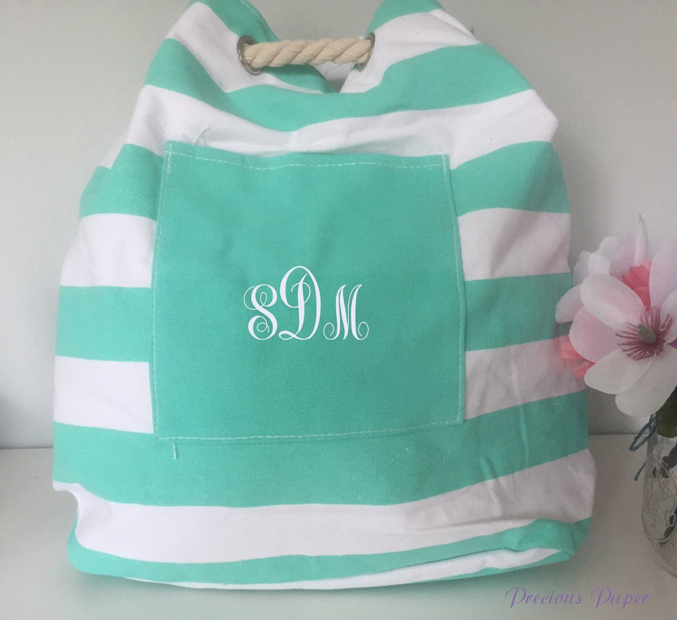 Personalized monogrammed teal canvas striped bag with rope handle, striped shoulder bag, beach bag, backpack
