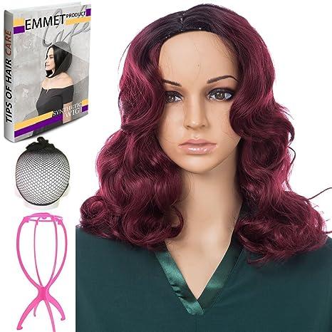 Emmet peluca largo de longitud suave de seda sintética Kanekalon oscuro Raíces Ombre color de las
