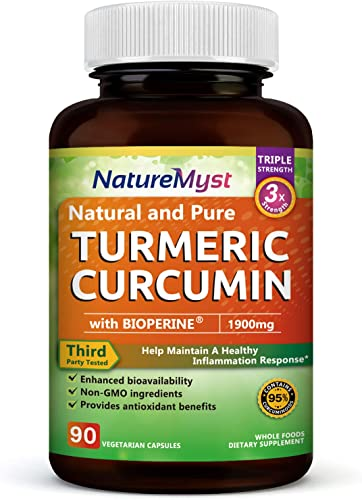 NatureMyst Turmeric Curcumin with Bioperine and 95 Standardized Curcuminoids, 1900mg, Non-GMO Turmeric Capsules, Made in USA-90 Veggie Capsules 90 ct.