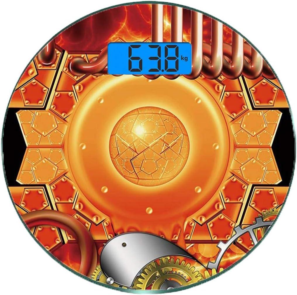 Escala digital de peso corporal de precisión Ronda Decoración de cobre Báscula de baño de vidrio templado ultra delgado Mediciones de peso precisas,Steampunk Mecanismo Retro Motor antiguo Engranaje Te: Amazon.es: Salud y