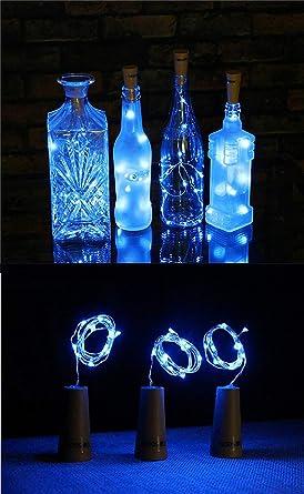 3 Paquetes de Luces de Botella Luces en Forma de Corcho con 20 LEDs Micro para Fiesta Cumpleaños Boda Decoración de Mesa de Hogar Azul 100cm (3 pilas ...