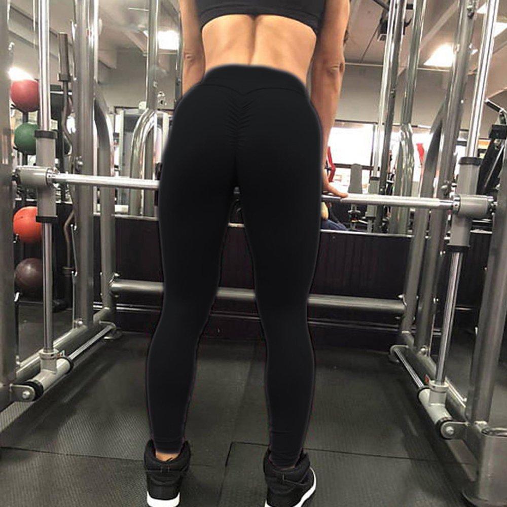 CROSS1946 Women's High Waist Back Ruched Legging Butt Lift Yoga Pants Hip Push up Workout Stretch Capris S by CROSS1946 (Image #6)