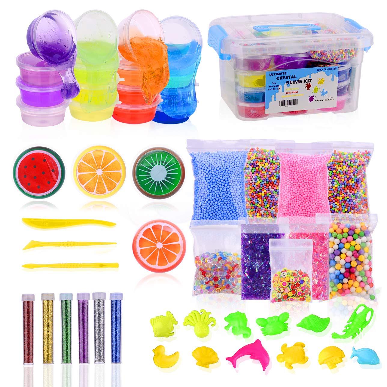 3ba8d31ed Slime Kit, Slime Making Kit for Girls & Boys, 20 Colors of Fluffy Crystal  DIY Slime Kit, Slime Kits with Everything, Supplies Include Fruit Slices,  ...