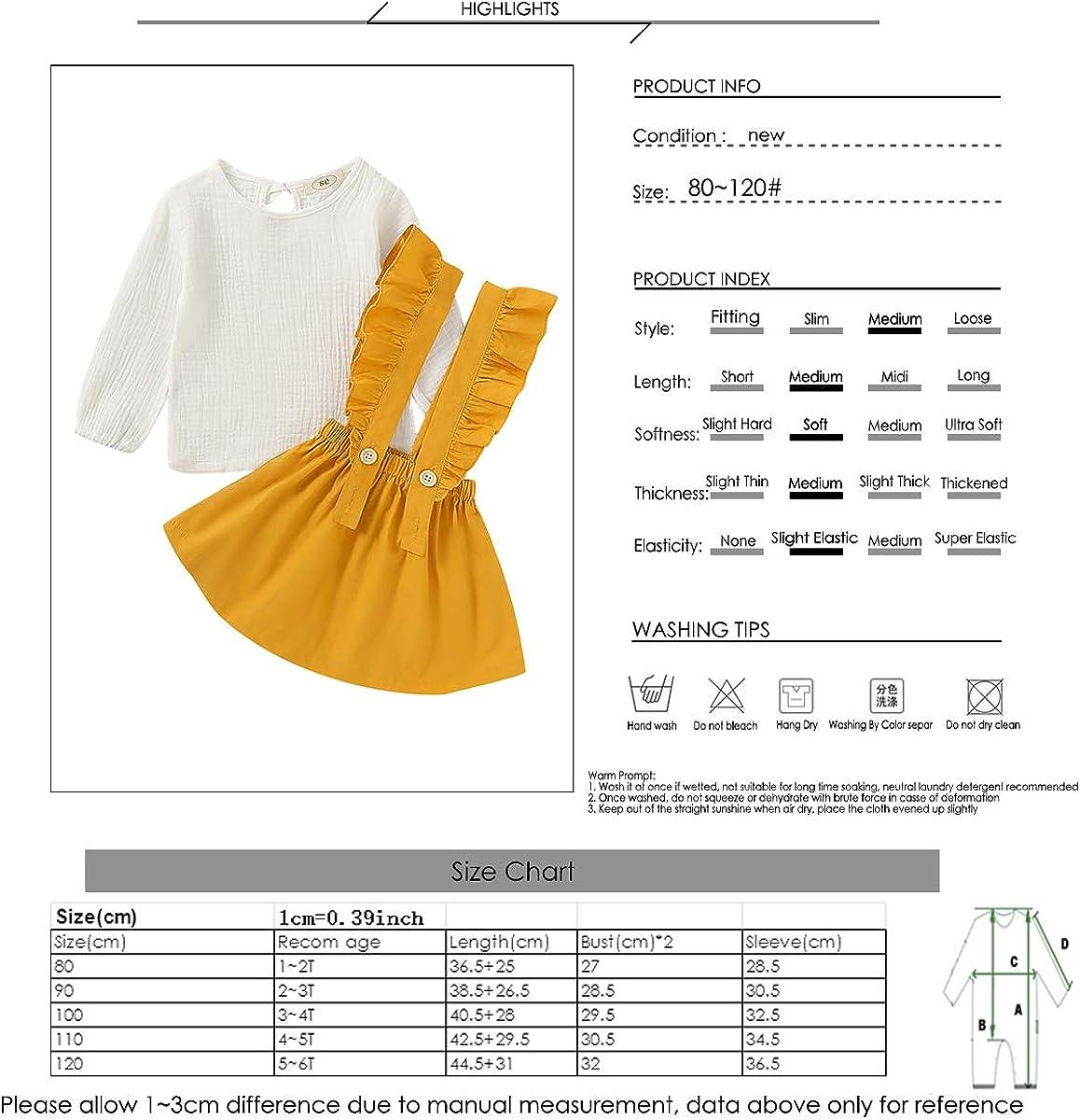 Ruffles Strap Skirt Set Camidy 1-5T Toddler Girl Cotton Linen Long Sleeve Shirt Top