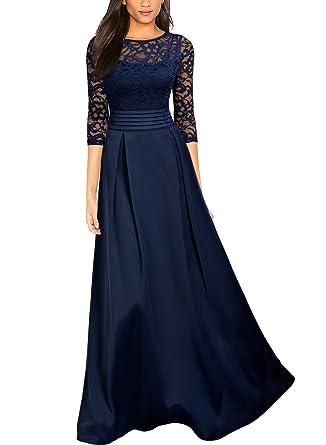 Miusol Damen Vintage Spitzen Kleider Elegant Brautjungfer ...