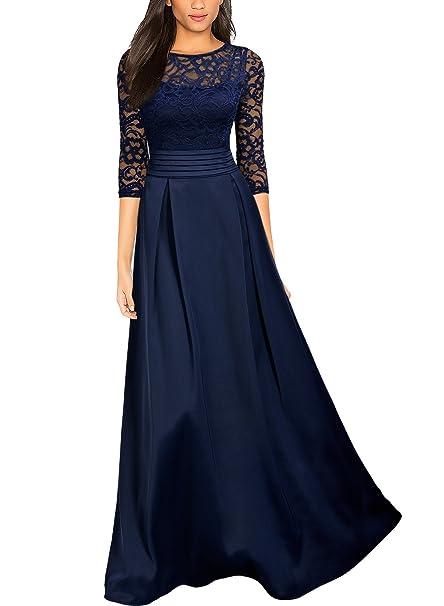 Miusol Vintage Encaje Fiesta Vestido Largo para Mujer Azul Small