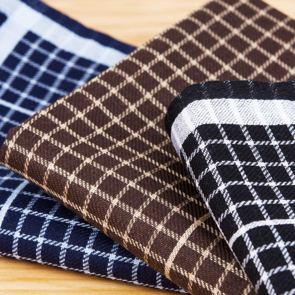 Houlife Mens Handkerchiefs 100/% Cotton 60S Classic Tartan Checkered Pattern Coloured Plaid Hankies for Dad Grandad Fathers Day Gift 6//12 Pieces 43x43cm