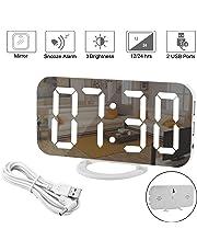 Réveil Numérique, Miroir Réveil Grand écran à Del de 6,5 Po avec Mode de Variation de la Luminosité, Luminosité Réglable, 2 Ports de Charge USB, Gros Bouton Snooze pour à Home Decor Blanc