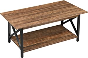 GreenForest Coffee Table Large Wood Top Metal Legs with Storage Shelf for Living Room, Easy Assembly, Walnut