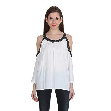 b08da7c2e64773 Patrorna Blended Women s Lace Work Cold Shoulder Sleeve Crop Tops (Size XS