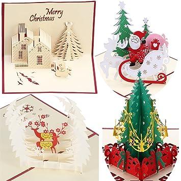 3D ポップアップ クリスマスカード 4枚セット 封筒付き かわいい プレゼント グリーティングカード (Bセット