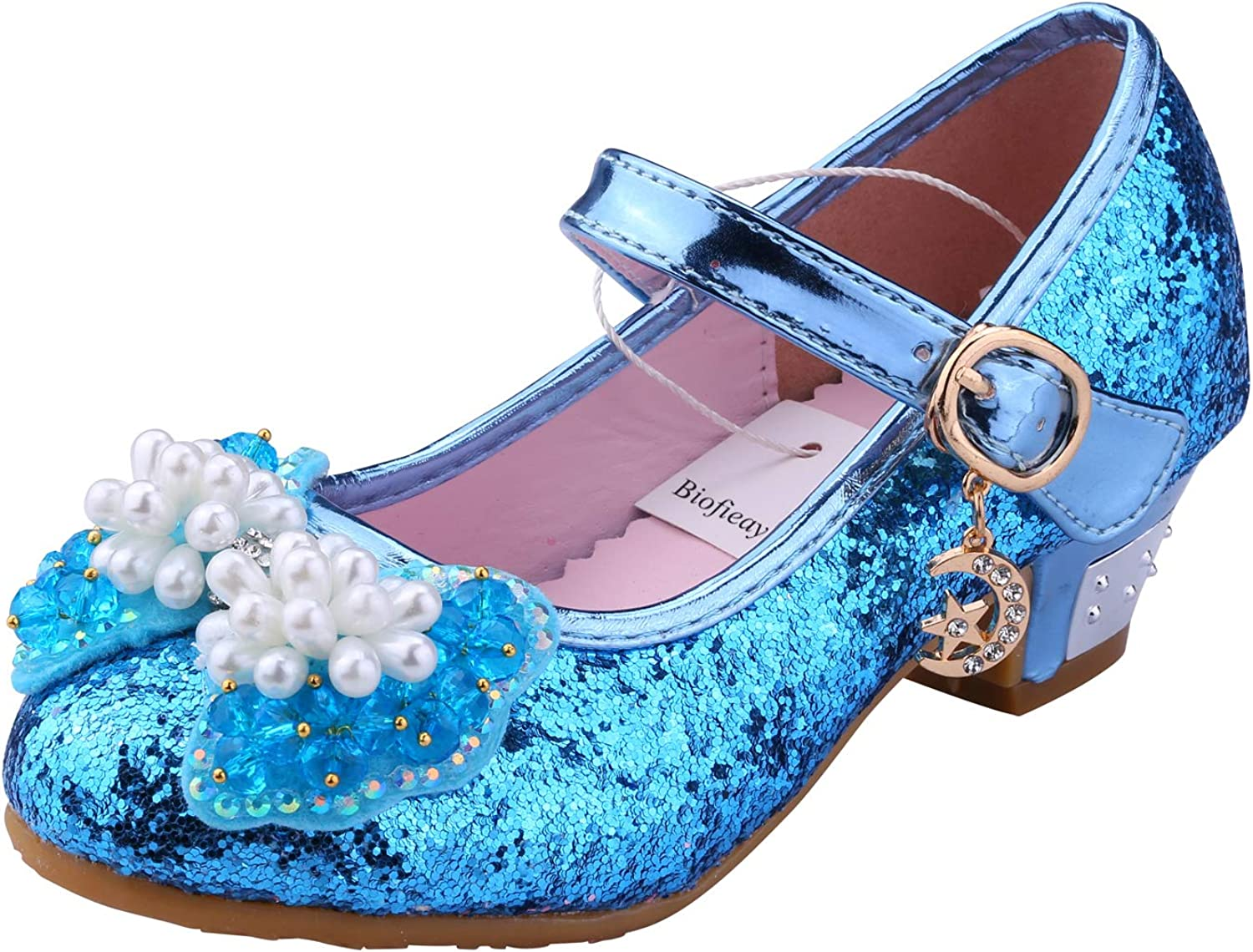 Biofieay Girls Princess Shoes Sparkly Cosplay Party Mary Jane Wedding Dress Low Heel Court Sandals