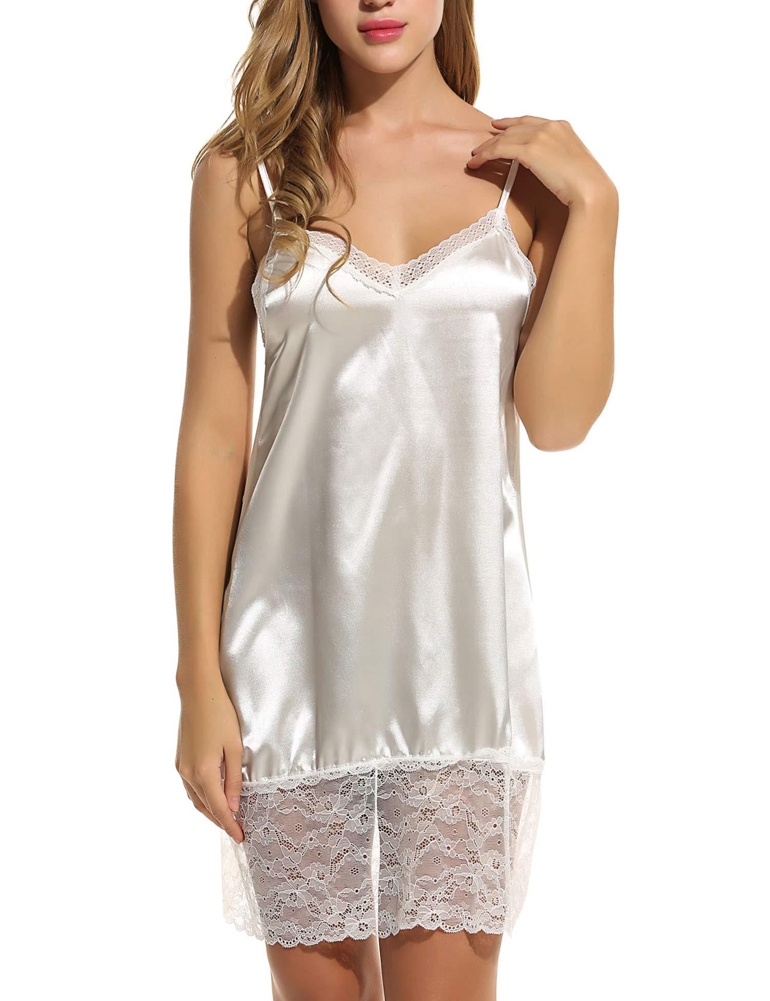 ELOVER Womens Satin Lingerie Sleepwear Lace Babydoll V Neck Chemise Nightgown White Medium