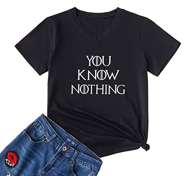 Yeveey You Know Nothing T Shirts Thrones Tv Show Gamer Game Vneck Tee