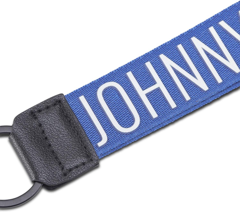 Porte Cl/és Bleu//Blanc Femme /& Homme Cha/îne Porte-Cl/és de Haute Qualit/é avec Gravure du Logo Longue Lani/èreNick Johnny Urban en Nylon Robuste /& Similicuir avec Anneau en M/étal