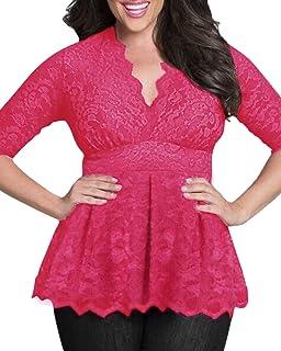 fc8fb8e2e57 PODOM Women Plus Size V-Neck Floral Lace Crochet Shirt Short Sleeve Blouse  Tops