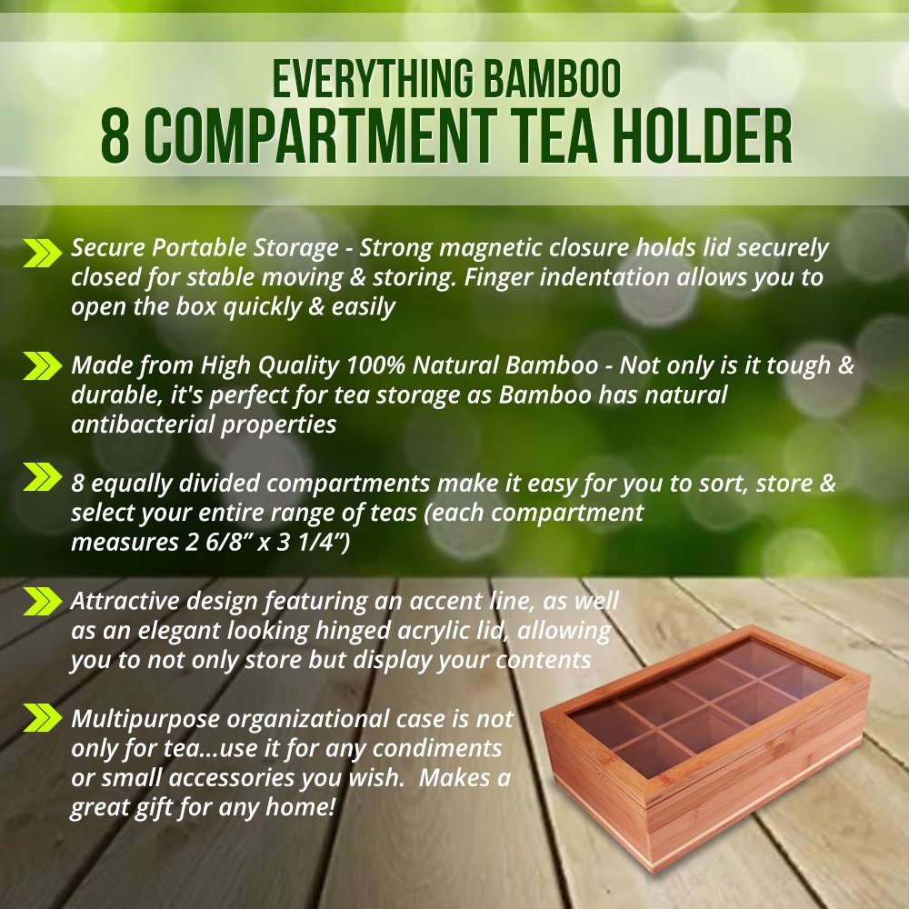 Everything Bamboo Wooden Tea Bag, Condiment or Small Accessories Storage Organizer Caddy with Clear Lid & 8 Compartments by Everything Bamboo (Image #4)
