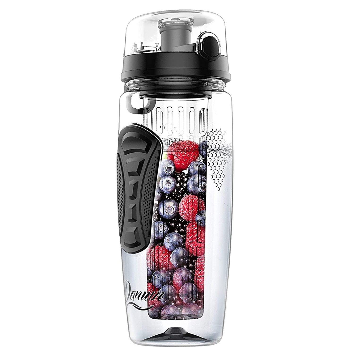a4dc52f15908 Danum Fruit Infuser Water Bottle Large 32oz Leak-Proof, Flip-Top, Dual Hand  Grips, Made of BPA-Free Eastman Tritan with Multiple Color Options & Free  ...