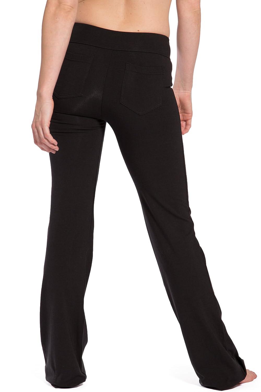 Fishers Finery Womens Ecofabric Classic Bootleg Yoga Pant; Back Pockets