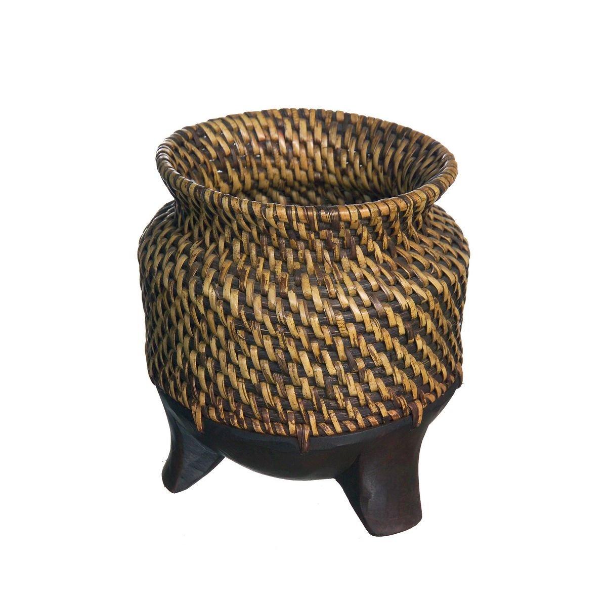 Discount Etnico - Vaso Acacia E Vimini Misura 16 x 15 cm