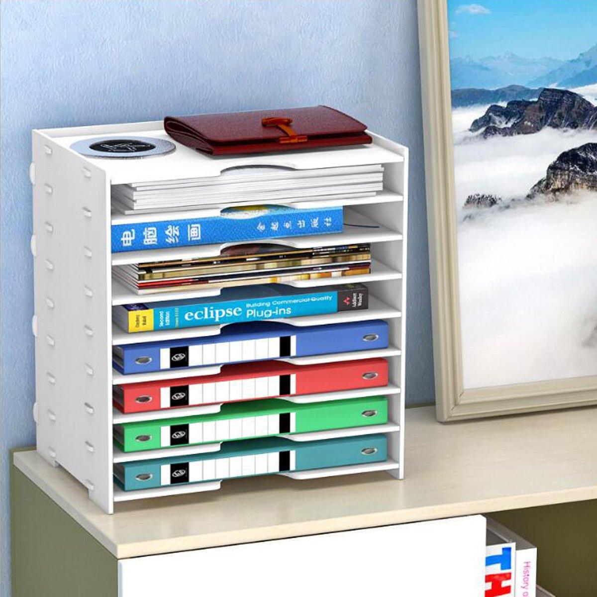 Folder Rack, Riipoo PVC 8-Tier Desk File Shelf, Simple Assembly Folder Rack Holder Storage Organizer for File, Folder, Books, Magazine and Others (White)