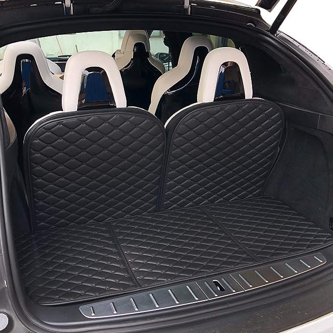 BMZX for Tesla Model X 6 Seater Car Trunk Rear Mats 3rd Seat Back Mats Protectors 4PCS