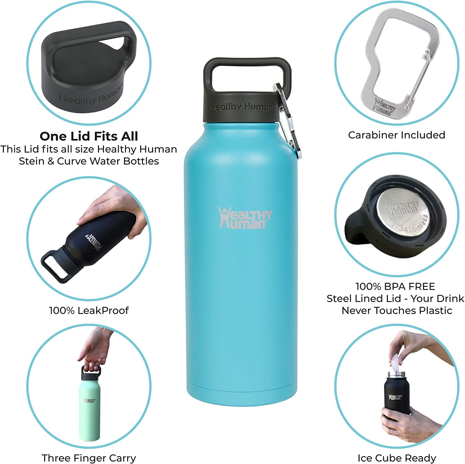 Healthy Human Water Bottle, BPA Free Sports Travel Stainless Steel Insulated Water Bottles Glacier
