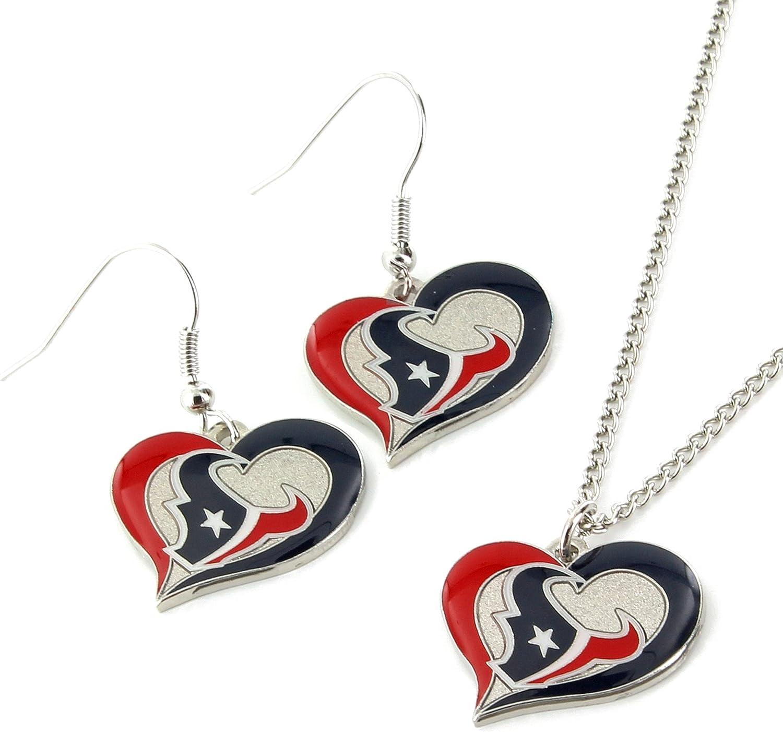 NFL Swirl Heart Earrings /& Pendant Set