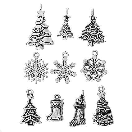 housweety 40pcs mixed silver tone christmas charms pendants snowflakes trees jingle bells stockings etc - Christmas Charms