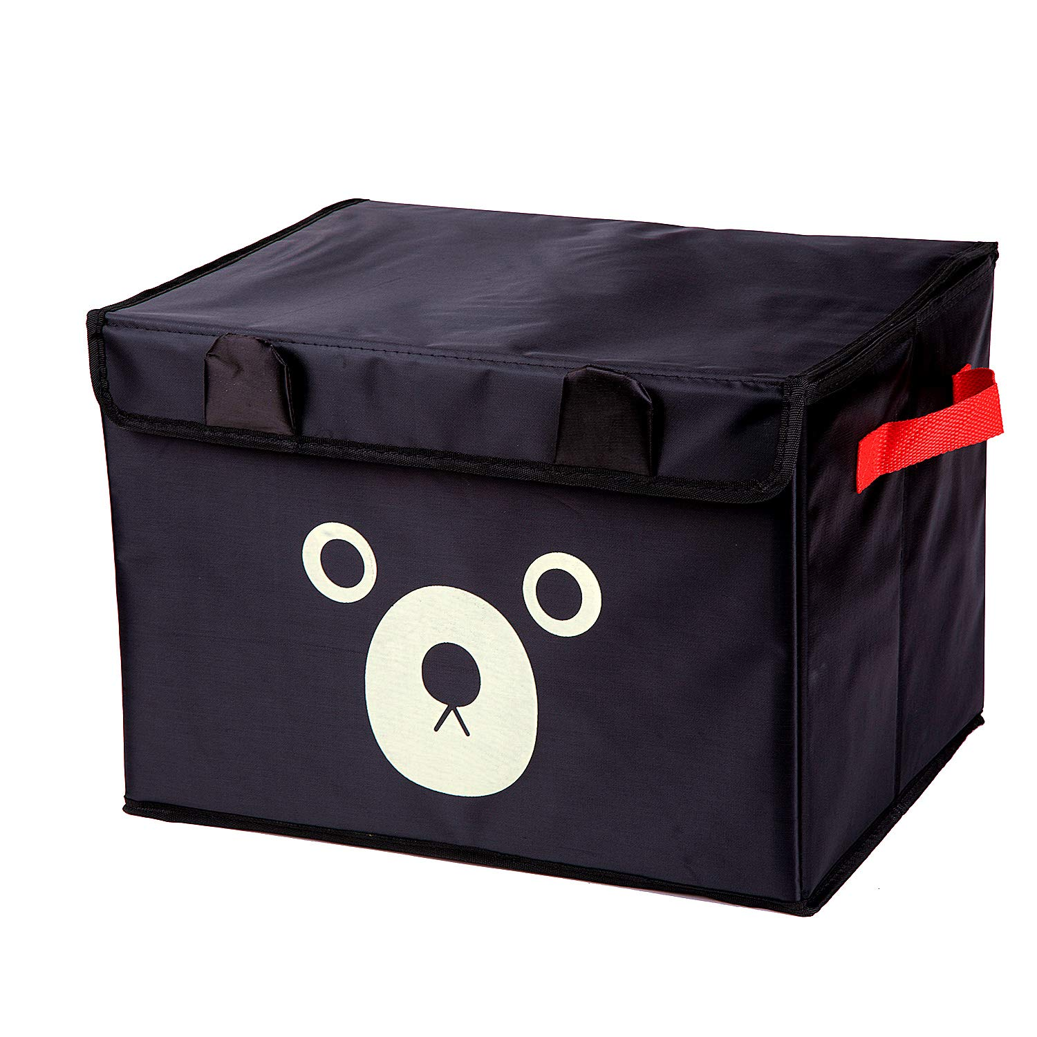 Detool Storage Bin with Velcro Cover Car Storage Box for Toy Storage, Collapsible Chest Box, Toys Organizer with Flip Lid for Kids Playroom, Baby Clothing, Children Books