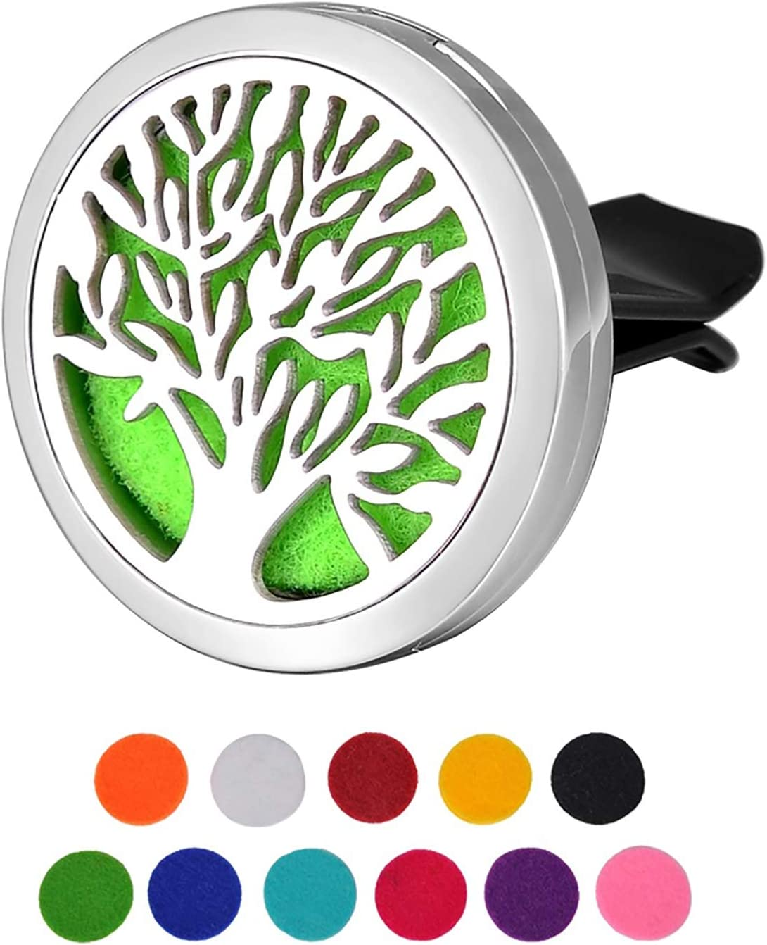 Housweety Tree Of Life Car Air Freshener Aromatherapy Essential Oil Diffuser Locket With Vent Clip 11 Refill Pads Amazon Ca Home Kitchen