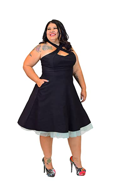 Revolver Clothing Co Vintage Style Pinup 50s Rockabilly Dress w/Pockets S-2X - Black -: Amazon.co.uk: Clothing