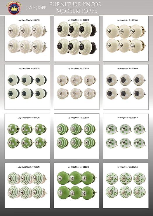 006GN Blanc Beige Creme Boutons de Meuble C/éramique Assortiment 6 pi/èces No Jay Knopf multicolore tiroir en porcelaine poign/ées meuble