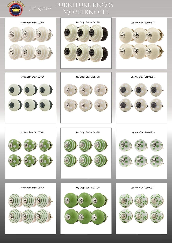 Perillas de Muebles conjunto surtido 6 piezas multicolore No 026GN Blanco Gris Azul Perilla de los muebles caj/ón gabinete manijas porcelana tiradores de muebles de porcelana de cer/ámica Jay Knopf