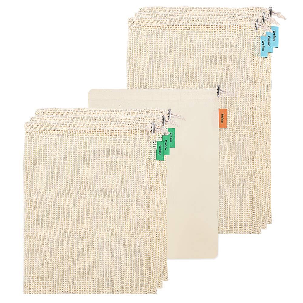 暮らし健康ネット館 venhoo再利用可能なProduceバッグ、環境に優しい有機天然コットンメッシュバッグの食料品ショッピング、ストレージ B07D66LYMF、再利用可能、洗濯可能、強力なダブルステッチseams-のセット10 B07D66LYMF, 南蒲原郡:3b627a13 --- diceanalytics.pk
