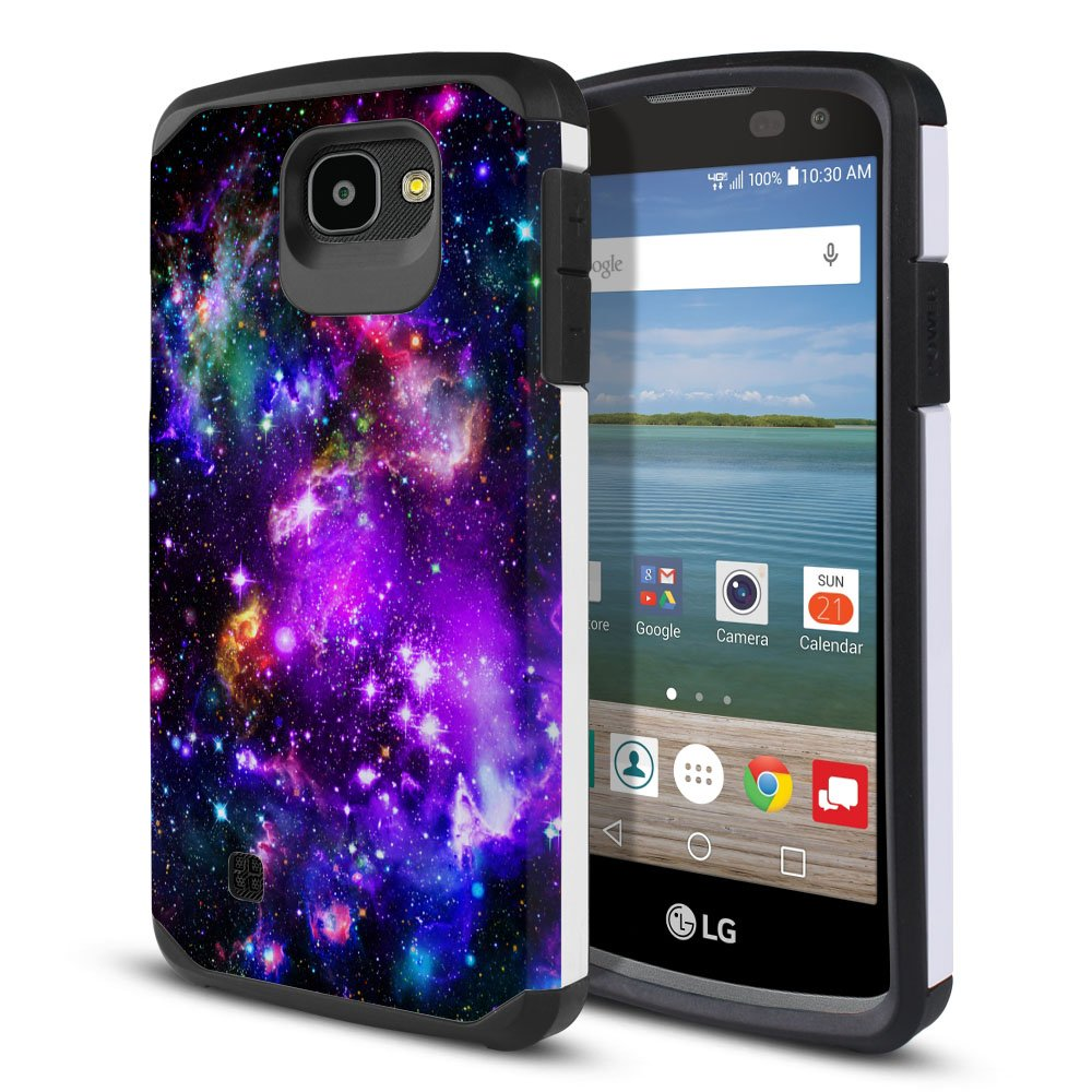 FINCIBO Case Compatible with LG Optimus Zone 3 VS425PP, Dual Layer Hard Back Hybrid Protector Case Cover Anti Shock TPU for LG Optimus Zone 3 - Purple Marvel Nebula Galaxy