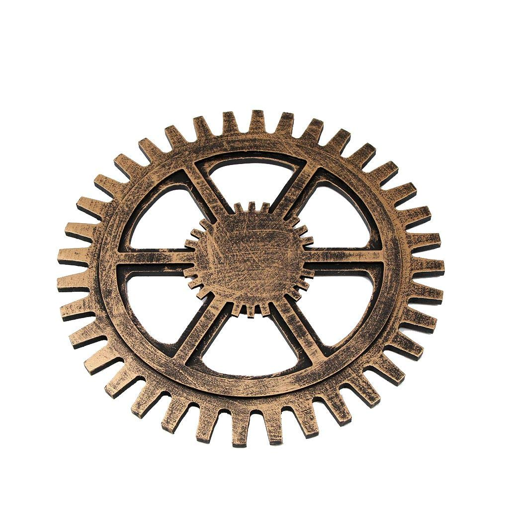 Zerama Home Old Style Wooden Gear Fake Metal Industrial Decoration TV Background Bedroom Restaurant Wall Hanging Ornament by Zerama