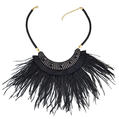 a03fa603f5173 Idealway Bohemian Leather Chain Rhinestone Choker Necklace Pendant Feather  Tassels for Women (Black)