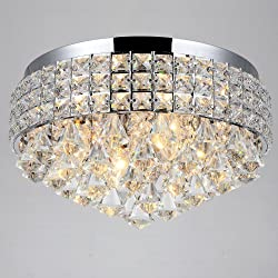4 Lights Crystal Flush Mount Ceiling lighting fixture for walking way living room, bedroom,kitchen, bathroom,closet (Silver)