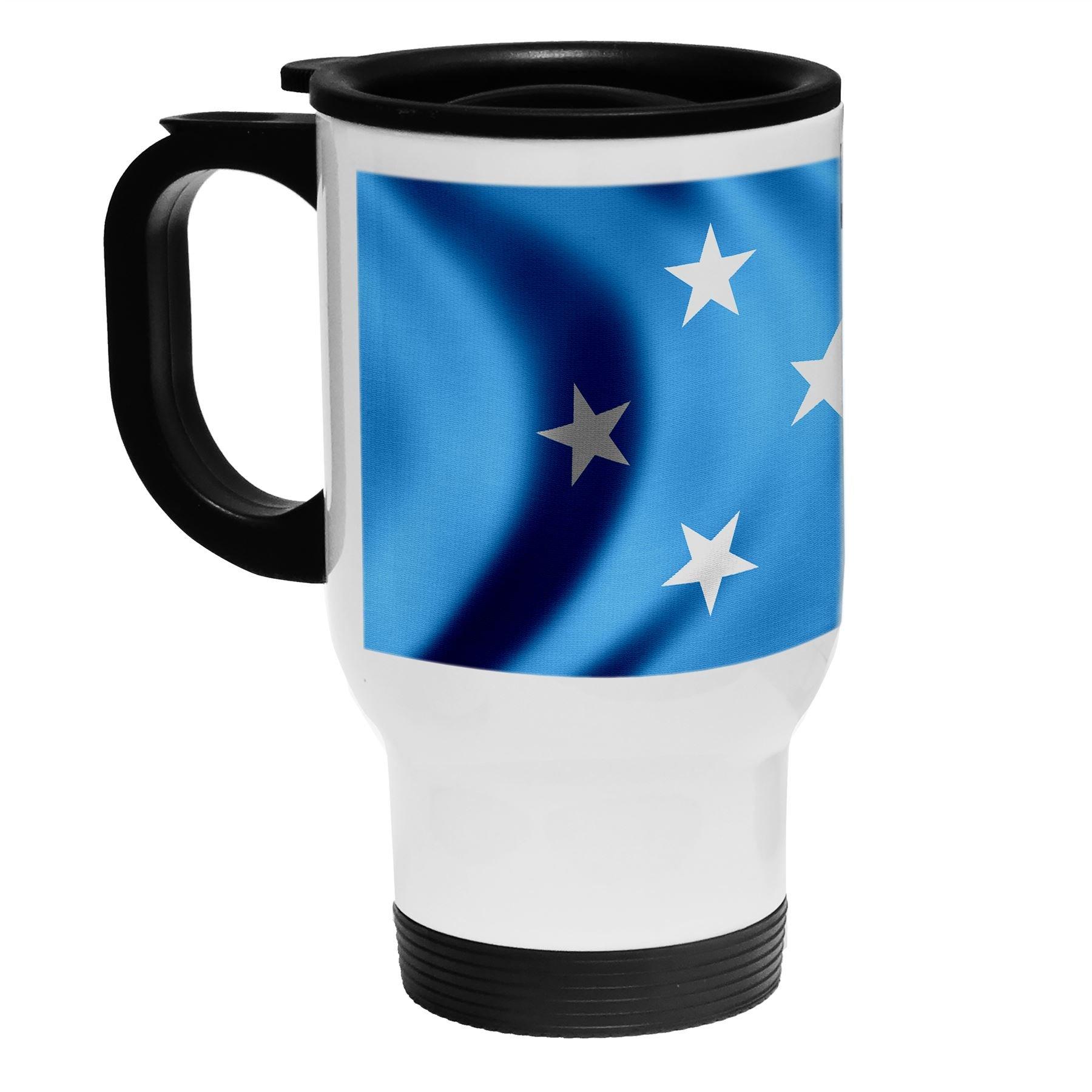 High Quality White Stainless Steel Coffee / Travel Mug - Flag of Micronesia (Micronesian) - Wood