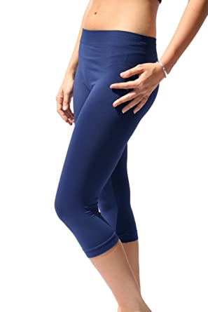 Nikibiki Capri Leggings Navy O/S NS5081 at Amazon Women's Clothing ...