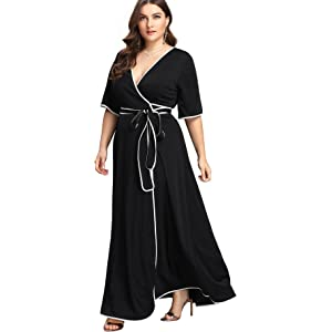 f2f7b464fd5 Aofur Plus Size Womens V Neck Evening Party Long Skirt Summer Beach ...